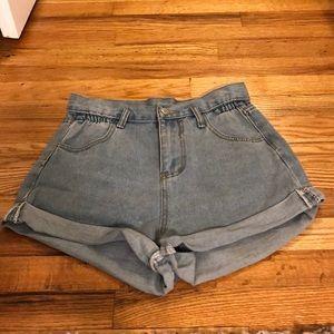High Waisted Denim Cuff Shorts